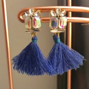 J. Crew Iridescent Crystal Tassel Earrings